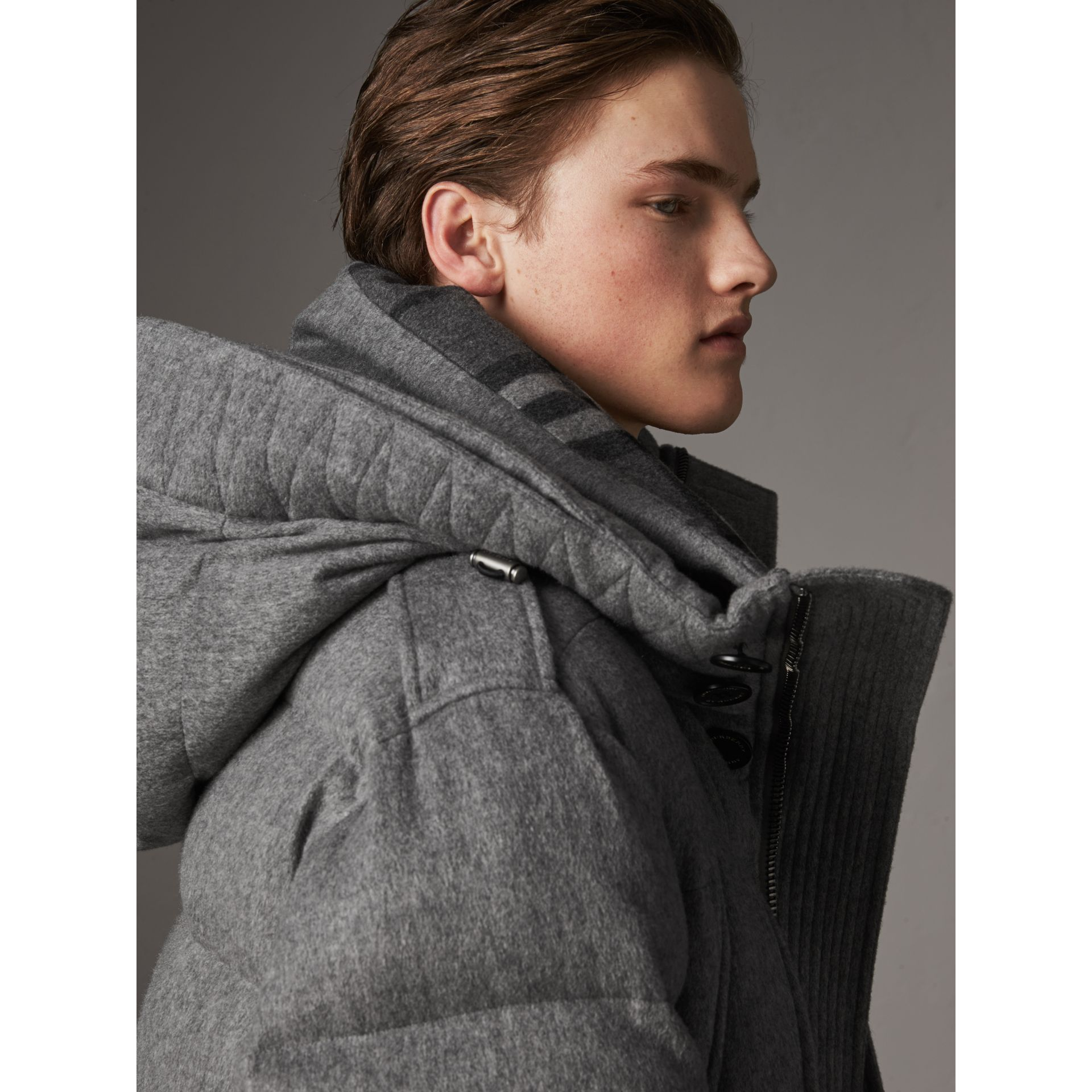 Detachable Fur Trim Cashmere Down-filled Parka in Mid Grey Melange - Men | Burberry United Kingdom - gallery image 4