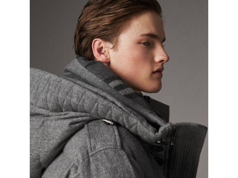 Detachable Fur Trim Cashmere Down-filled Parka in Mid Grey Melange - Men | Burberry United Kingdom - cell image 4