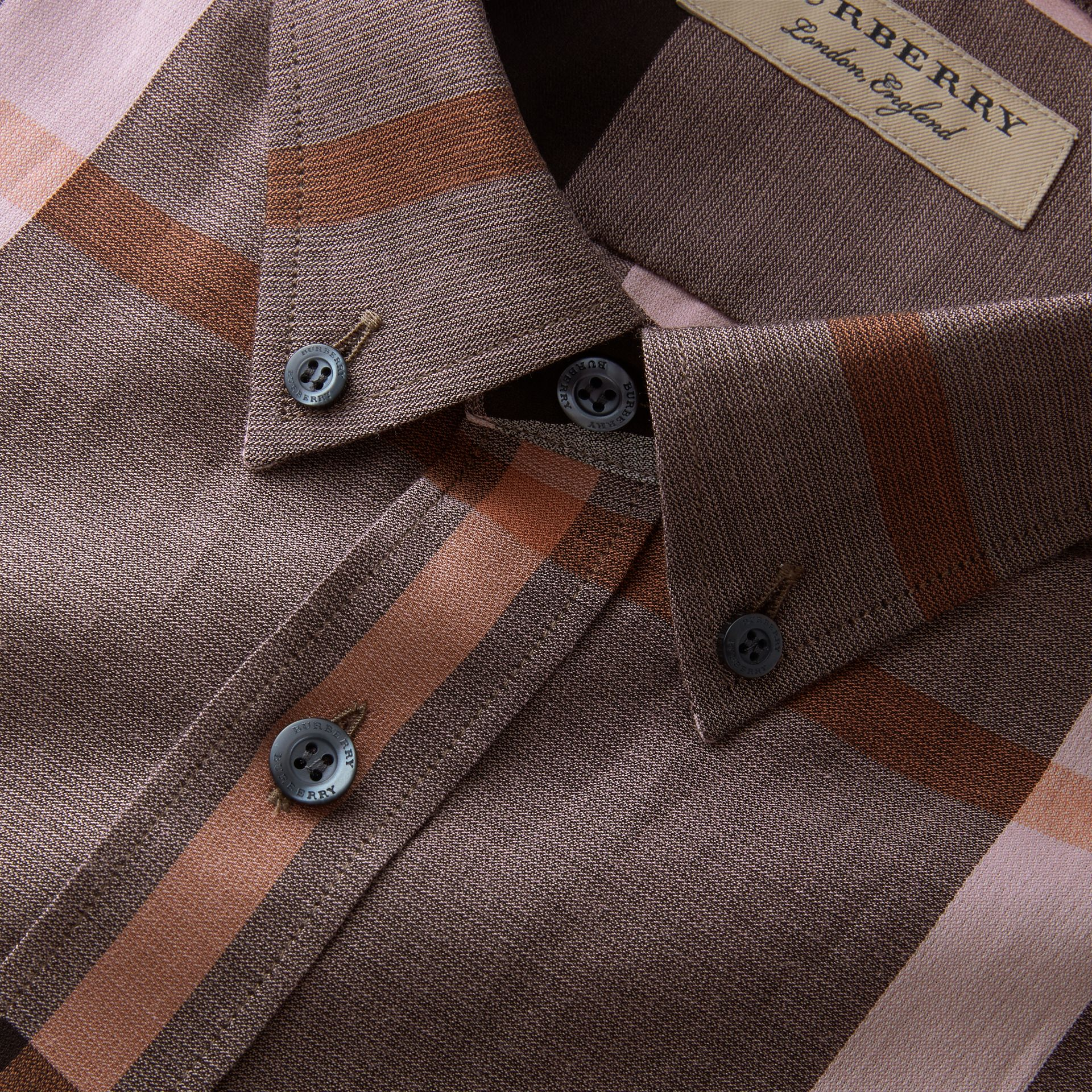 Button-down Collar Check Cotton Poplin Shirt in Antique Rose - Men | Burberry - gallery image 2