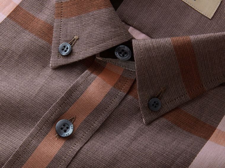 Button-down Collar Check Cotton Poplin Shirt in Antique Rose - Men | Burberry - cell image 1