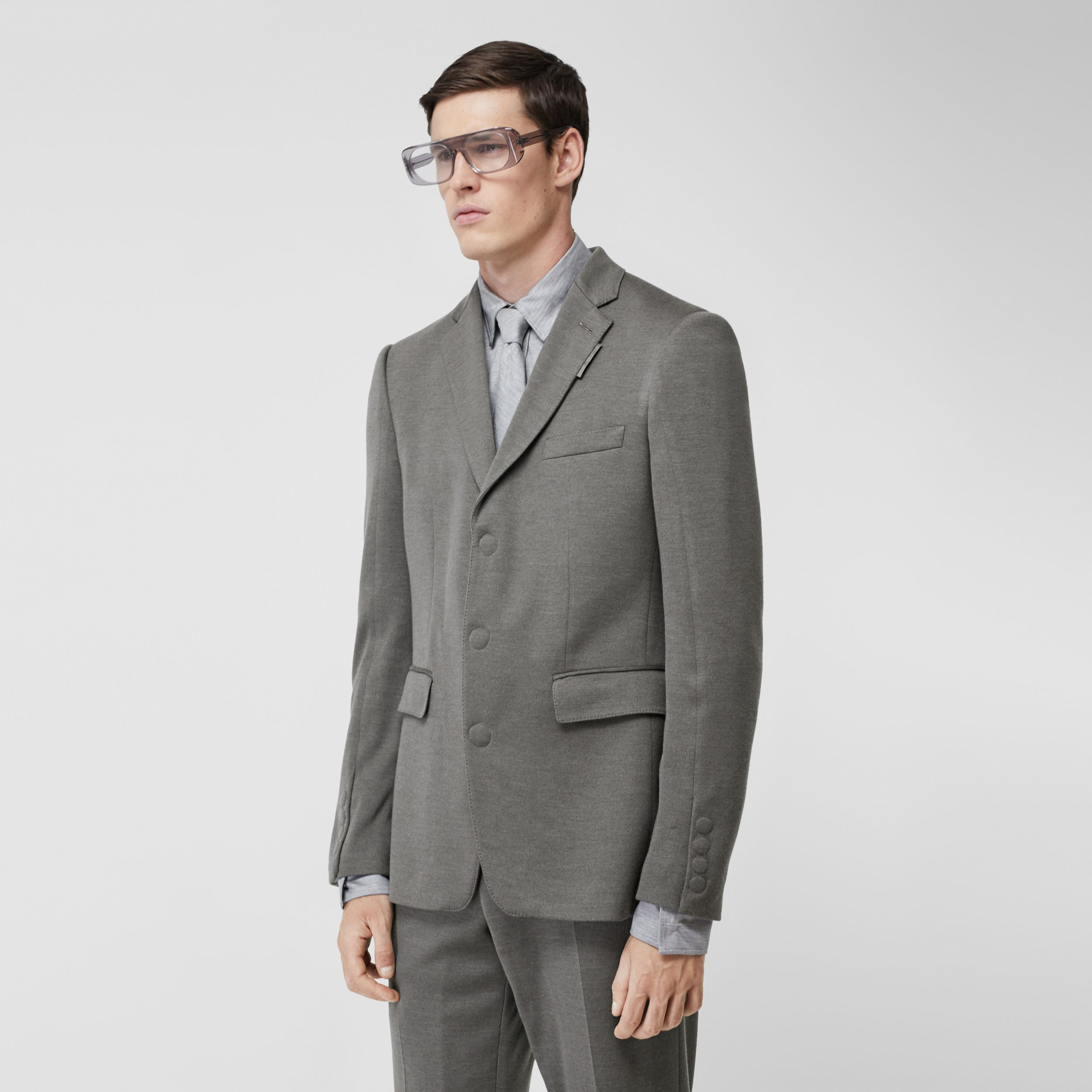 English Fit Cashmere Silk Jersey Tailored Jacket in Cloud Grey - Men | Burberry United Kingdom - 1