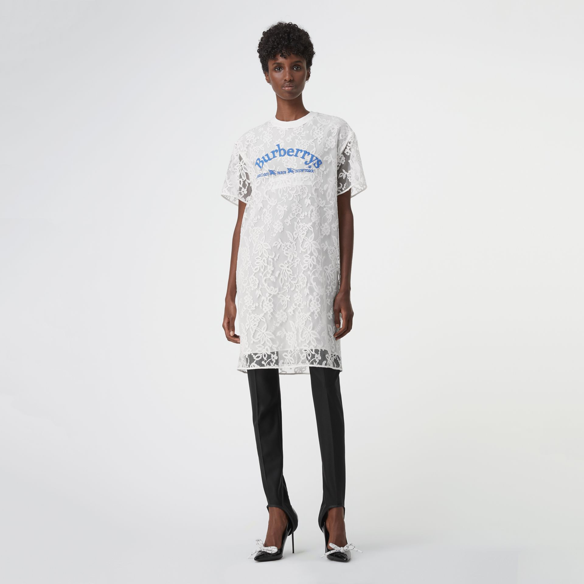 Embroidered Archive Logo Lace Dress in Natural White - Women | Burberry United States - gallery image 0