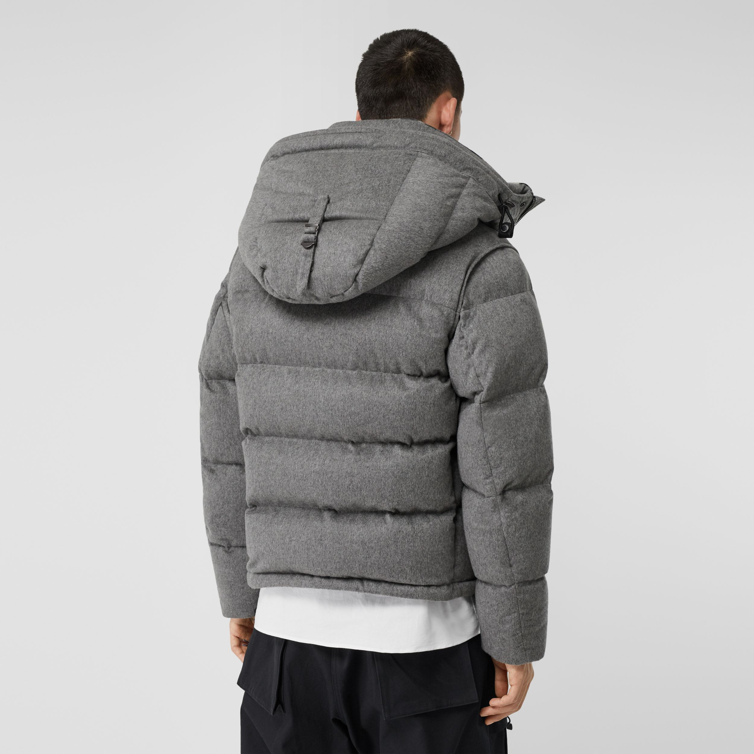 Detachable Sleeve Cashmere Hooded Puffer Jacket in Mid Grey Melange - Men | Burberry United States - 3
