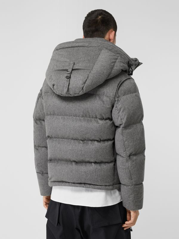 Detachable Sleeve Cashmere Hooded Puffer Jacket in Mid Grey Melange - Men | Burberry - cell image 2