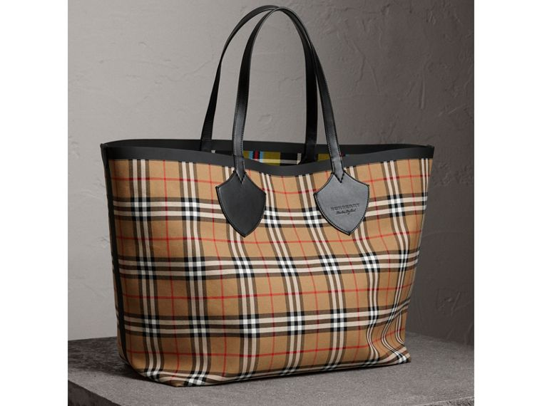 Sac tote The Giant réversible en coton à motif Vintage check (Jaune Antique) | Burberry - cell image 4