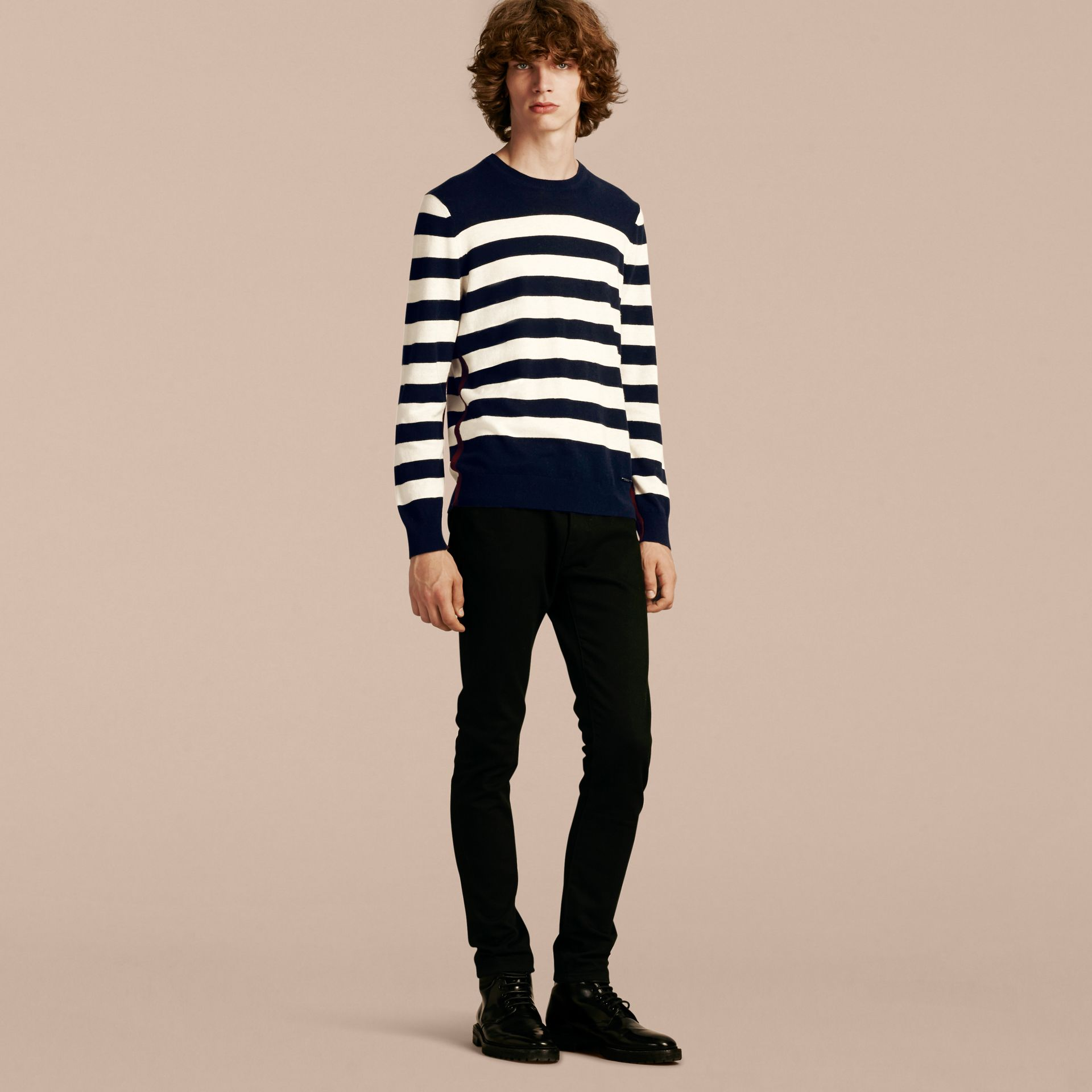Striped Cashmere Cotton Sweater Navy - gallery image 6