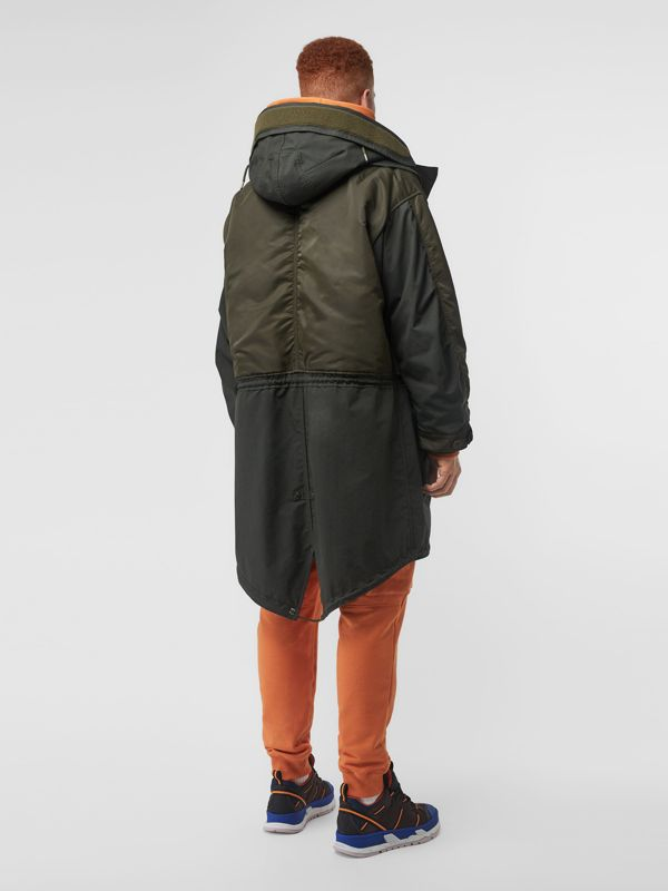 Nylon Hooded Parka with Detachable Warmer in Olive - Men | Burberry United States - cell image 2