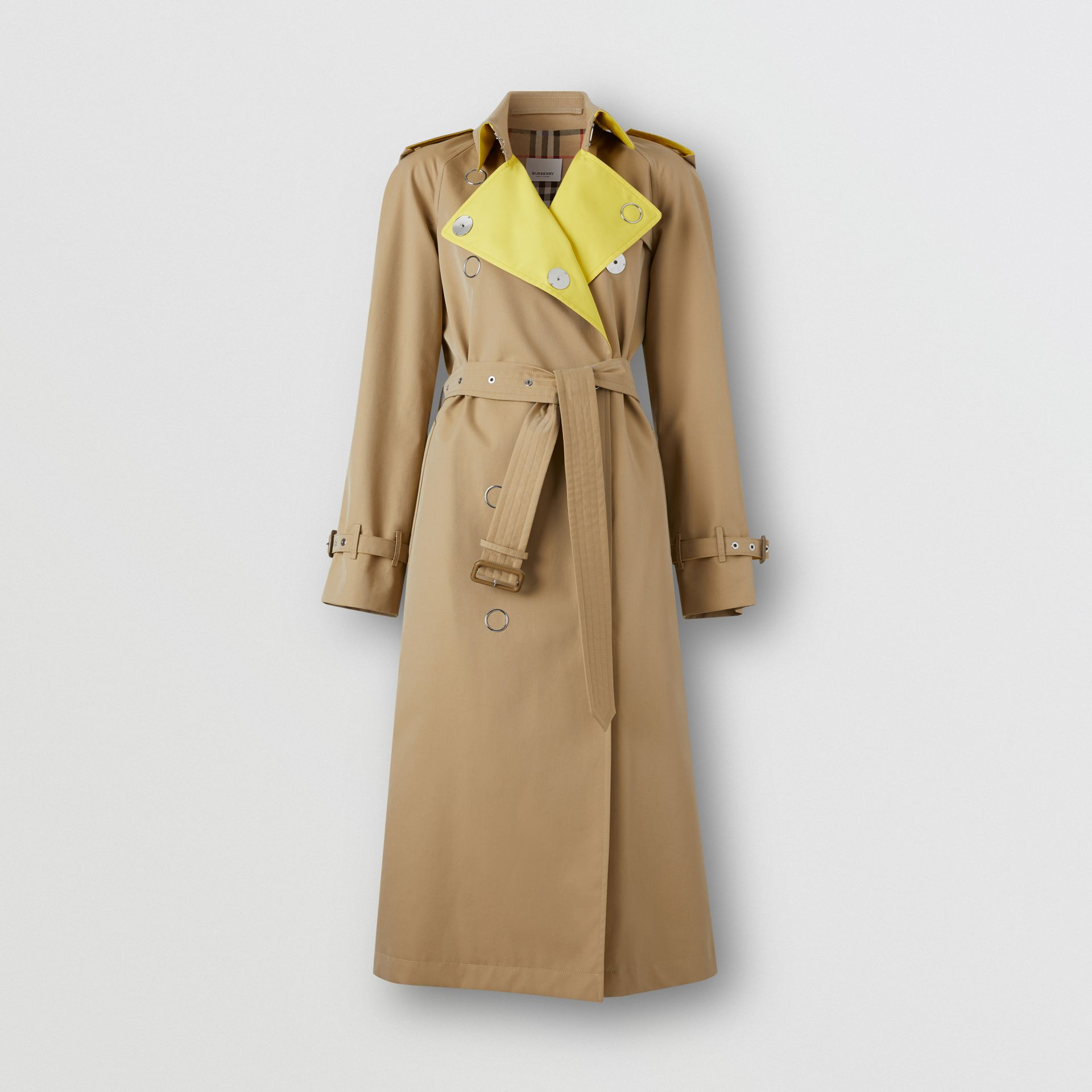 Colour Block Cotton Gabardine Trench Coat in Honey - Women | Burberry Canada - gallery image 3