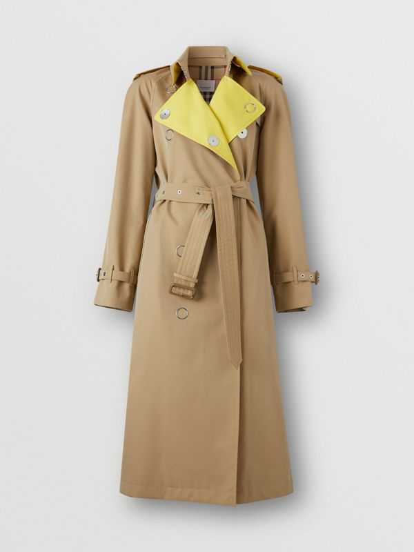 Colour Block Cotton Gabardine Trench Coat in Honey - Women | Burberry - cell image 3