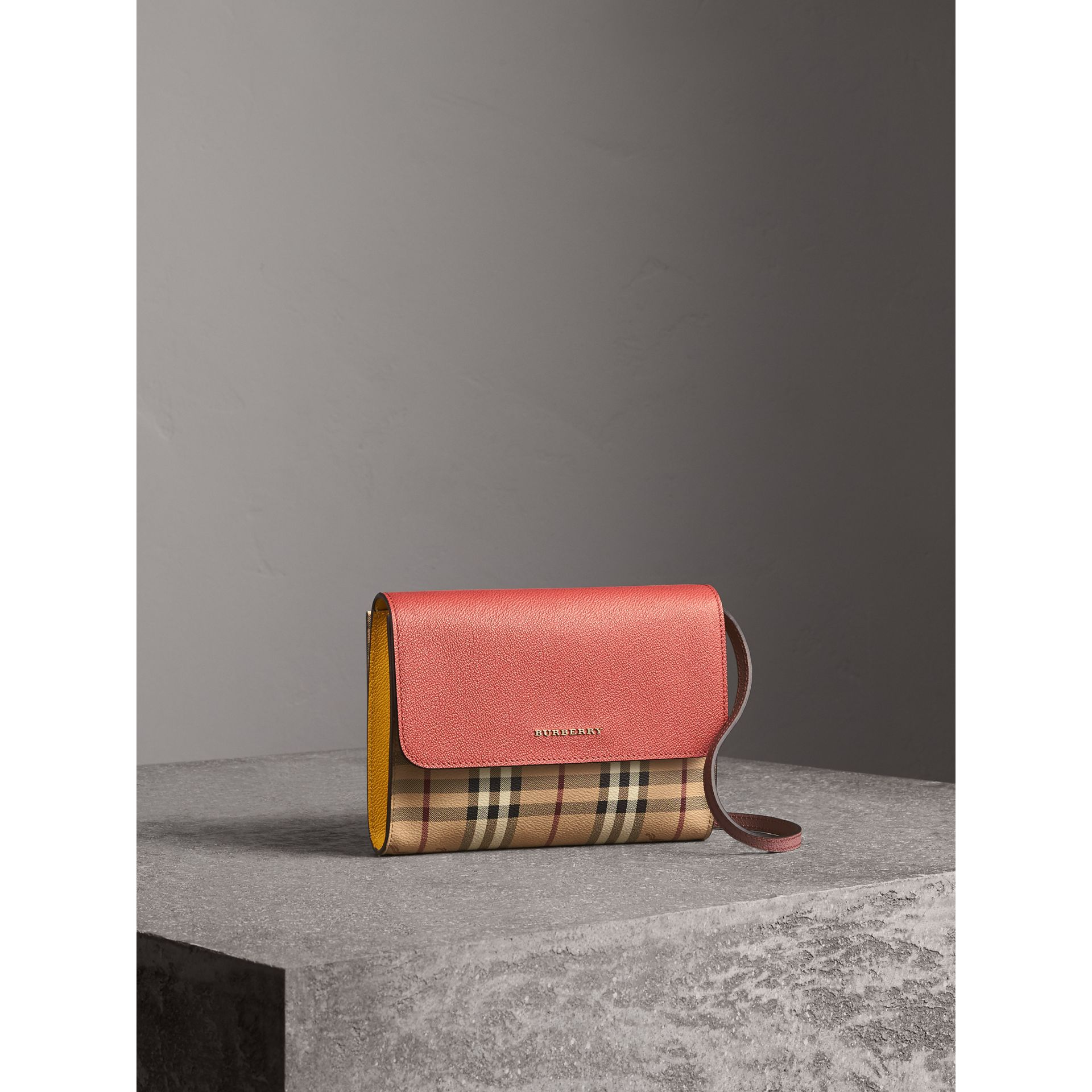 Haymarket Check and Leather Crossbody Bag in Cinnamon Red/multi - Women | Burberry - gallery image 1
