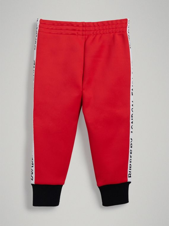 Stripe Detail Jersey Sweatpants in Bright Red - Boy | Burberry - cell image 3