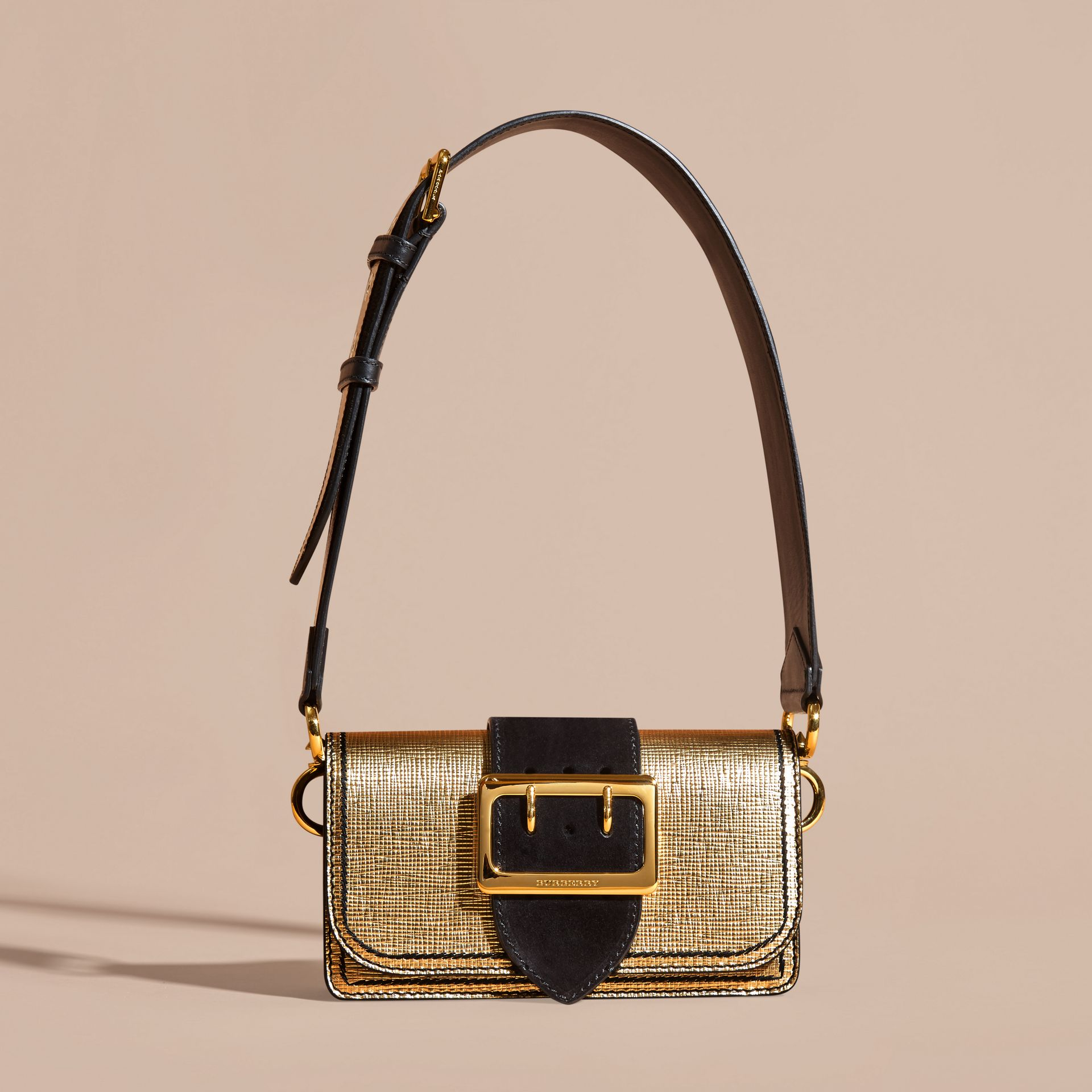 Gold/black The Small Buckle Bag in Metallic Leather and Suede - gallery image 7