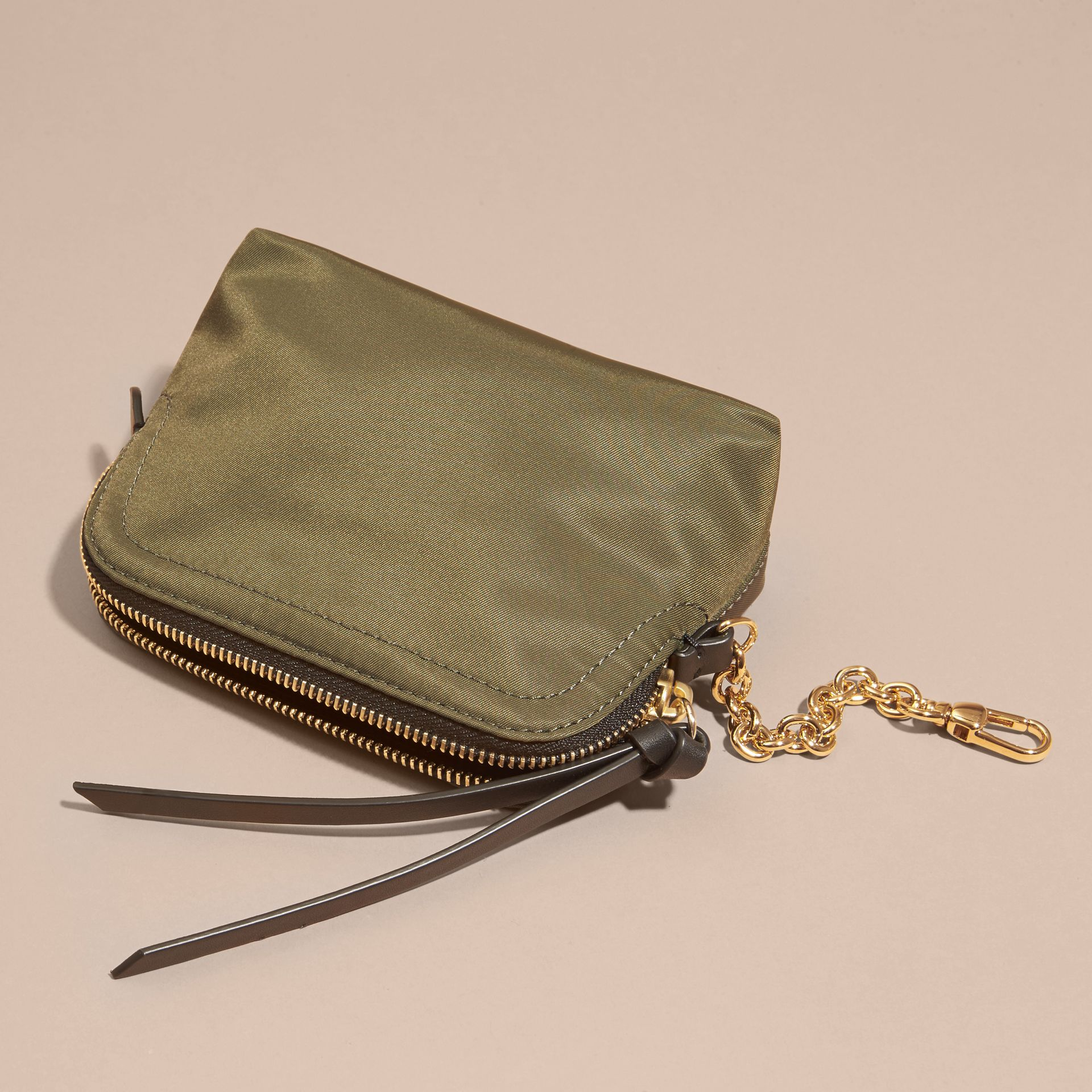Small Zip-top Technical Nylon Pouch Canvas Green - gallery image 4