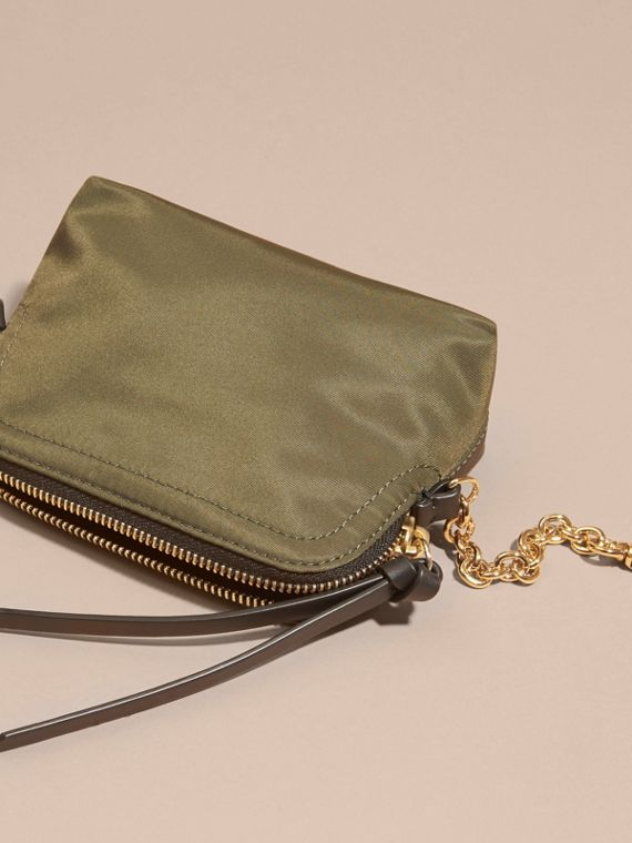 Small Zip-top Technical Nylon Pouch Canvas Green - cell image 3