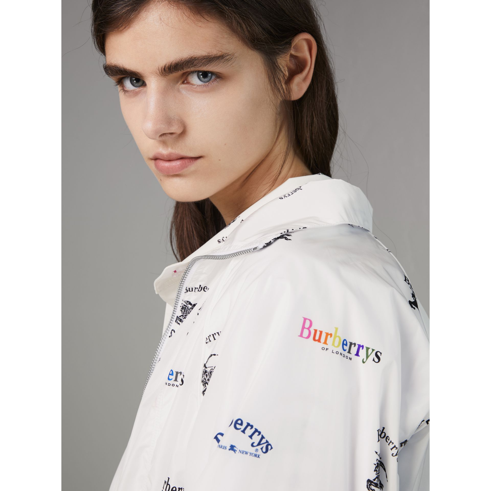 Triple Archive Logo Print Shell Jacket in Multicolour - Women | Burberry Singapore - gallery image 4