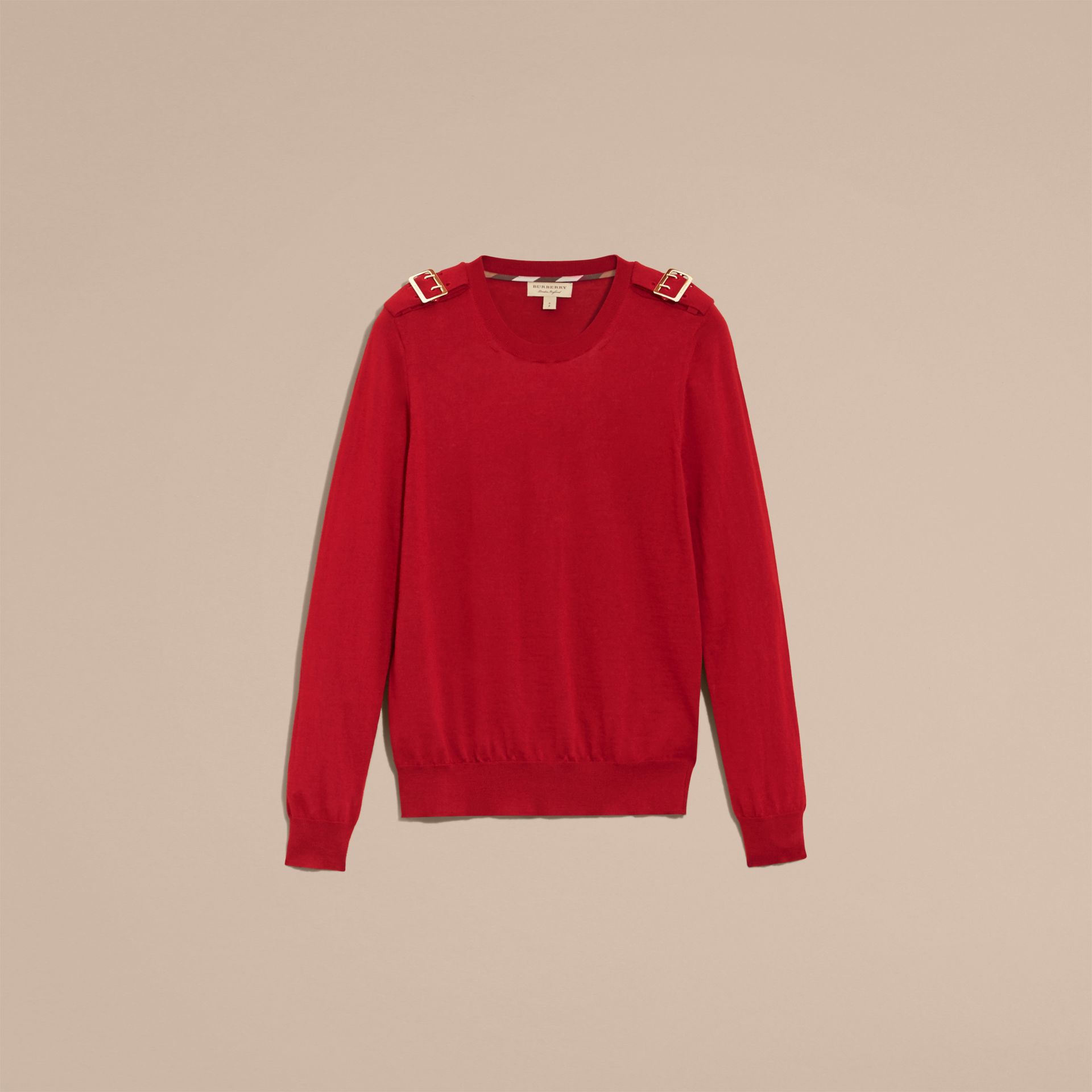 Buckle Detail Merino Wool Sweater in Parade Red - gallery image 4