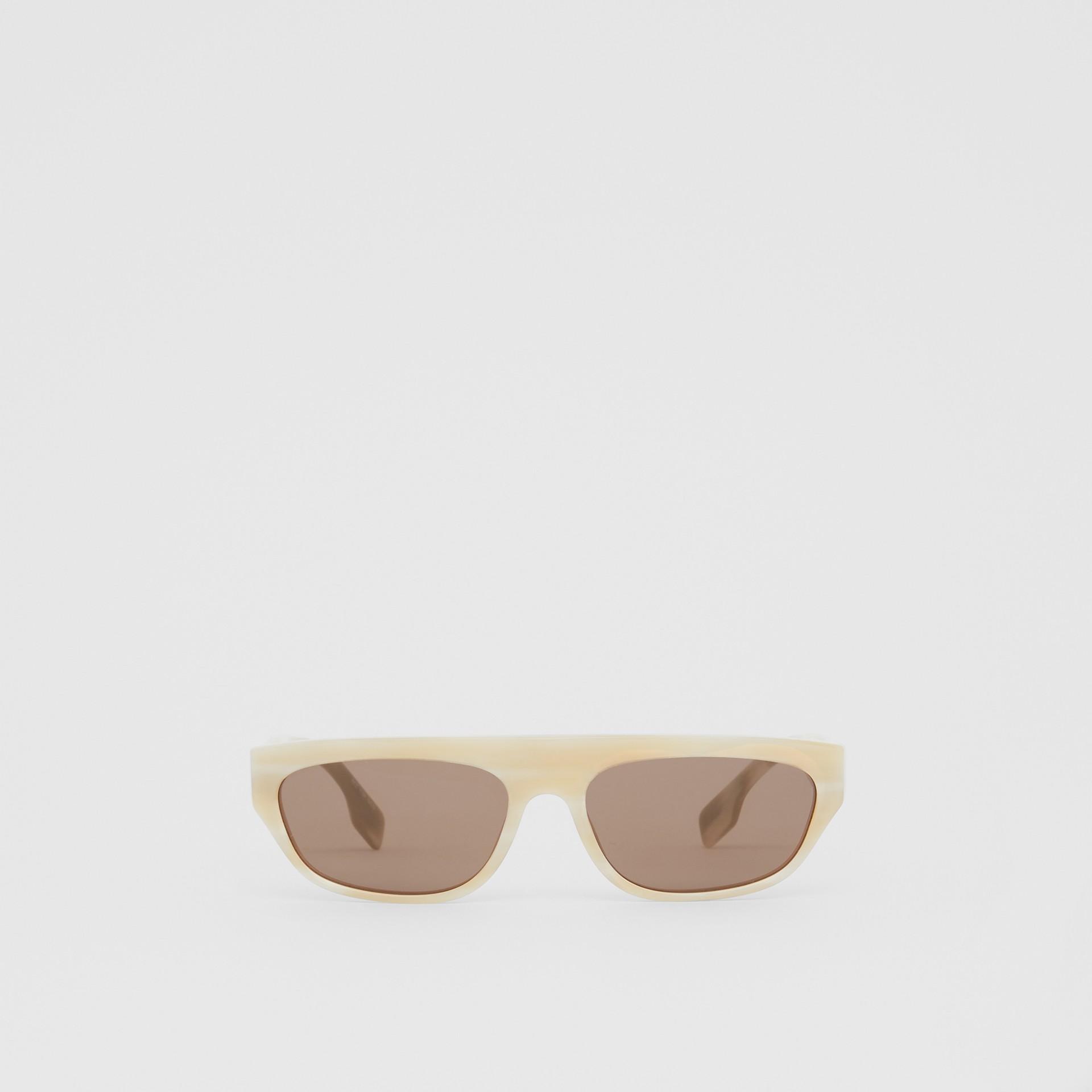 Monogram Motif Rectangular Frame Sunglasses in Light Horn - Women | Burberry - gallery image 0