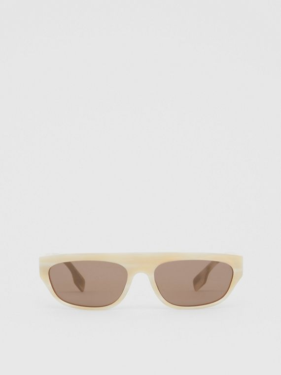 Monogram Motif Rectangular Frame Sunglasses in Light Horn