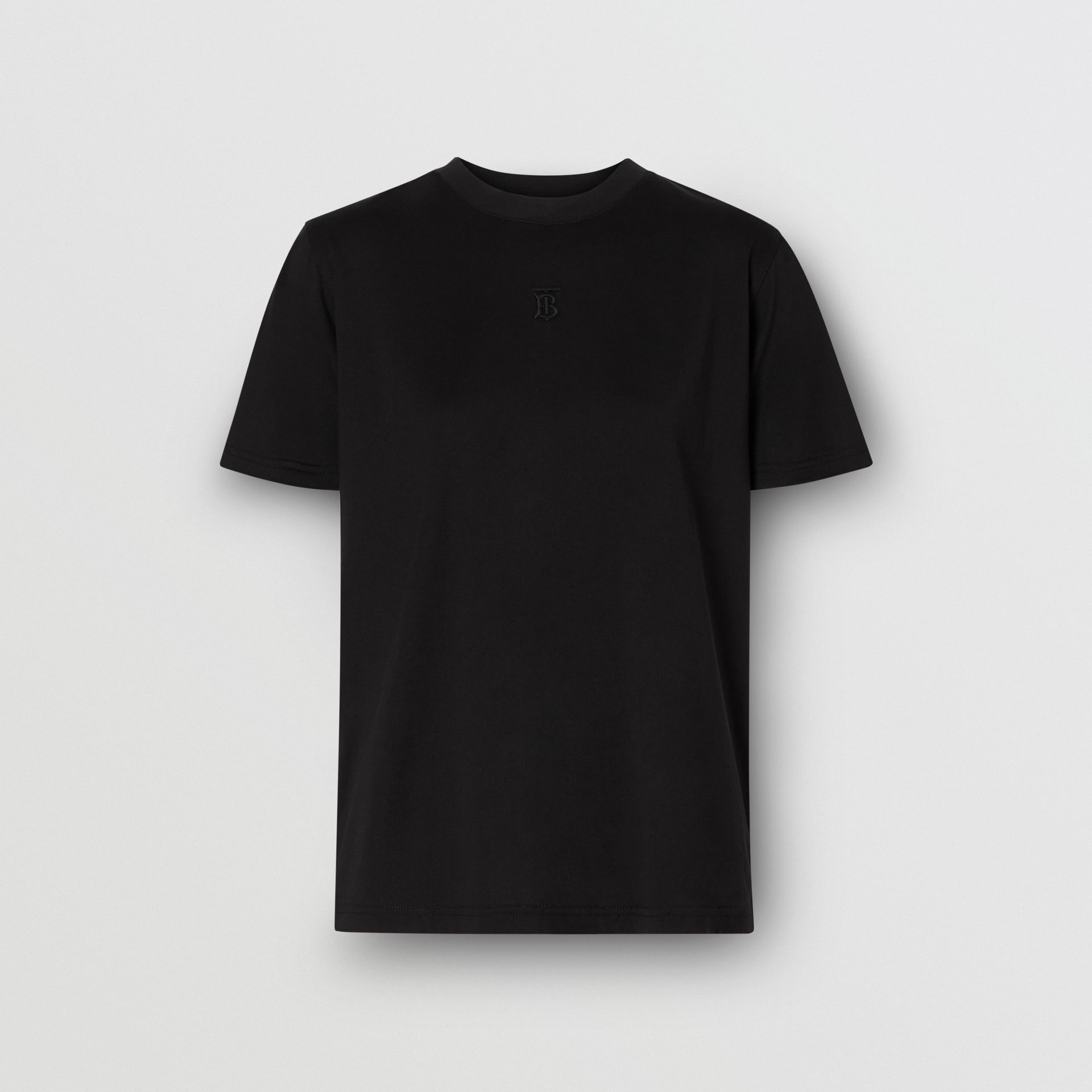 Monogram Motif Cotton T-shirt in Black - Women | Burberry - gallery image 3