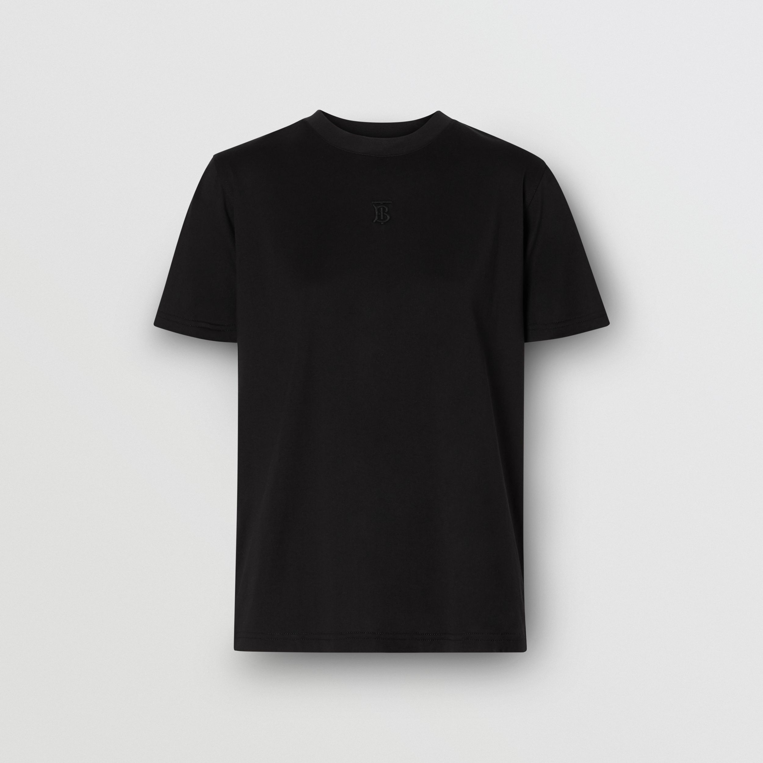 Monogram Motif Cotton T-shirt in Black - Women | Burberry Australia - 4