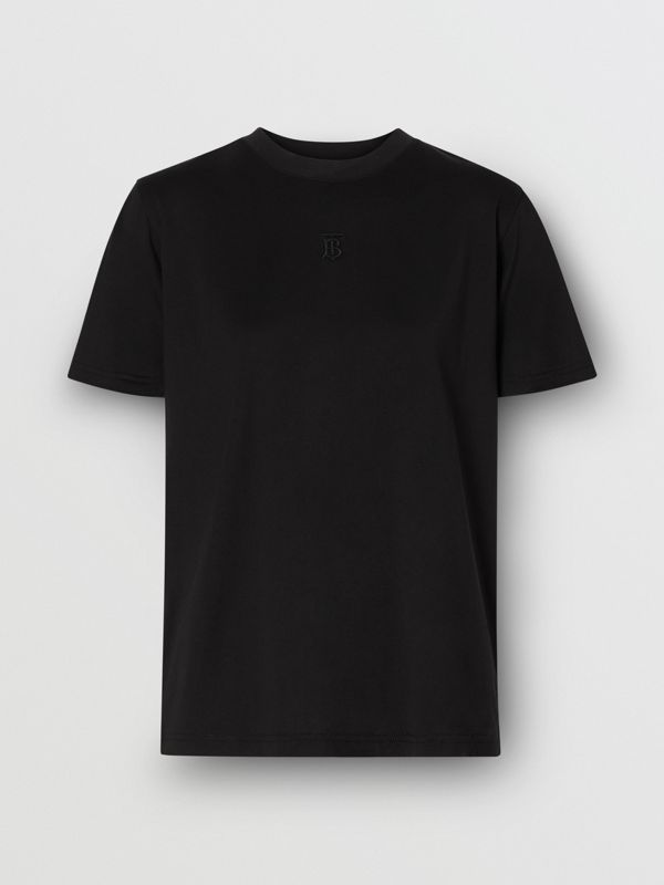 Monogram Motif Cotton T-shirt in Black - Women | Burberry United States - cell image 3