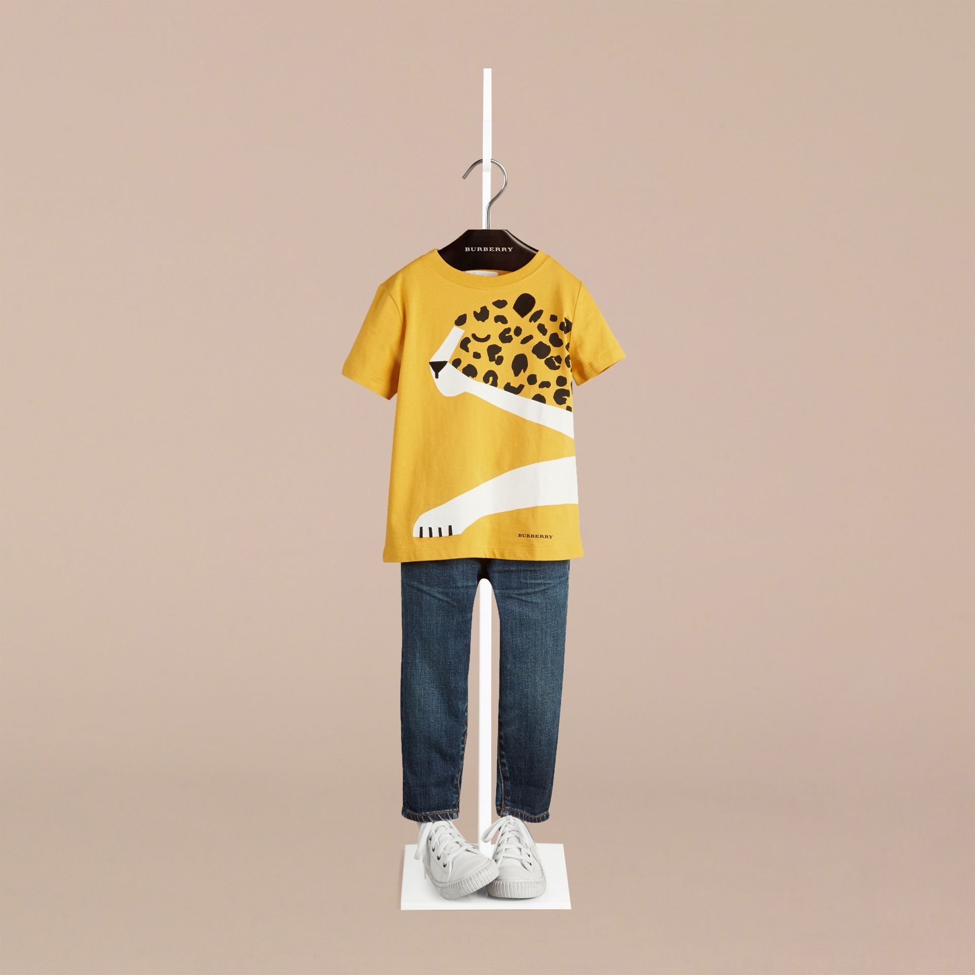 Amber yellow Cheetah Graphic Cotton T-shirt Amber Yellow - gallery image 1
