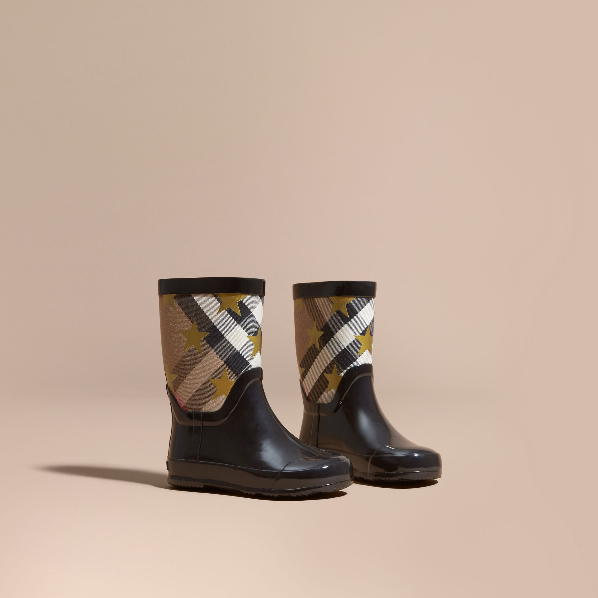 Black Star Print House Check Rain Boots - gallery image 1