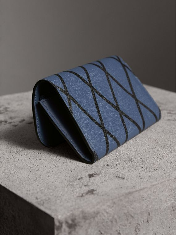 Trompe L'oeil Print Leather Continental Wallet in Steel Blue - Women | Burberry - cell image 3