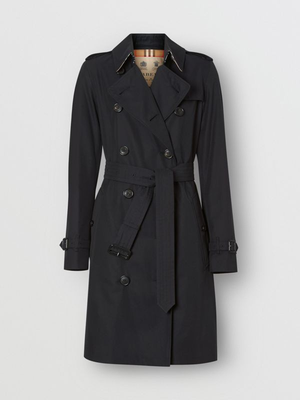 The Mid-length Kensington Heritage Trench Coat in Midnight - Women | Burberry United Kingdom - cell image 3