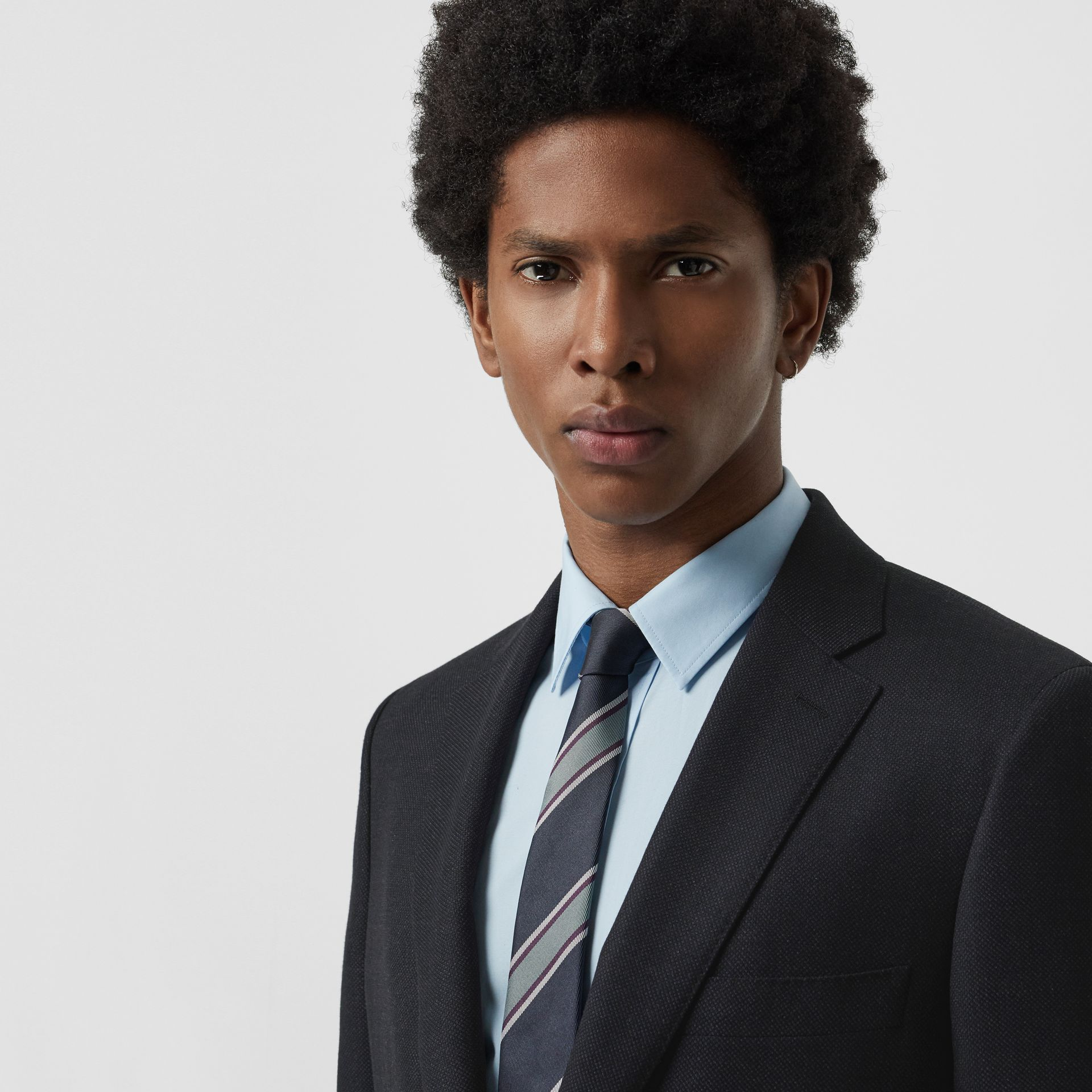 Slim Fit Birdseye Wool Suit in Navy - Men | Burberry - gallery image 1