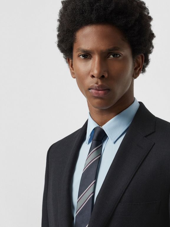 Slim Fit Birdseye Wool Suit in Navy - Men | Burberry - cell image 1