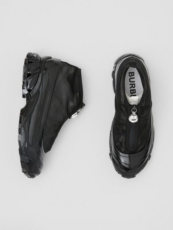Sneakers Arthur en nylon et cuir velours avec mesh (Noir/blanc)