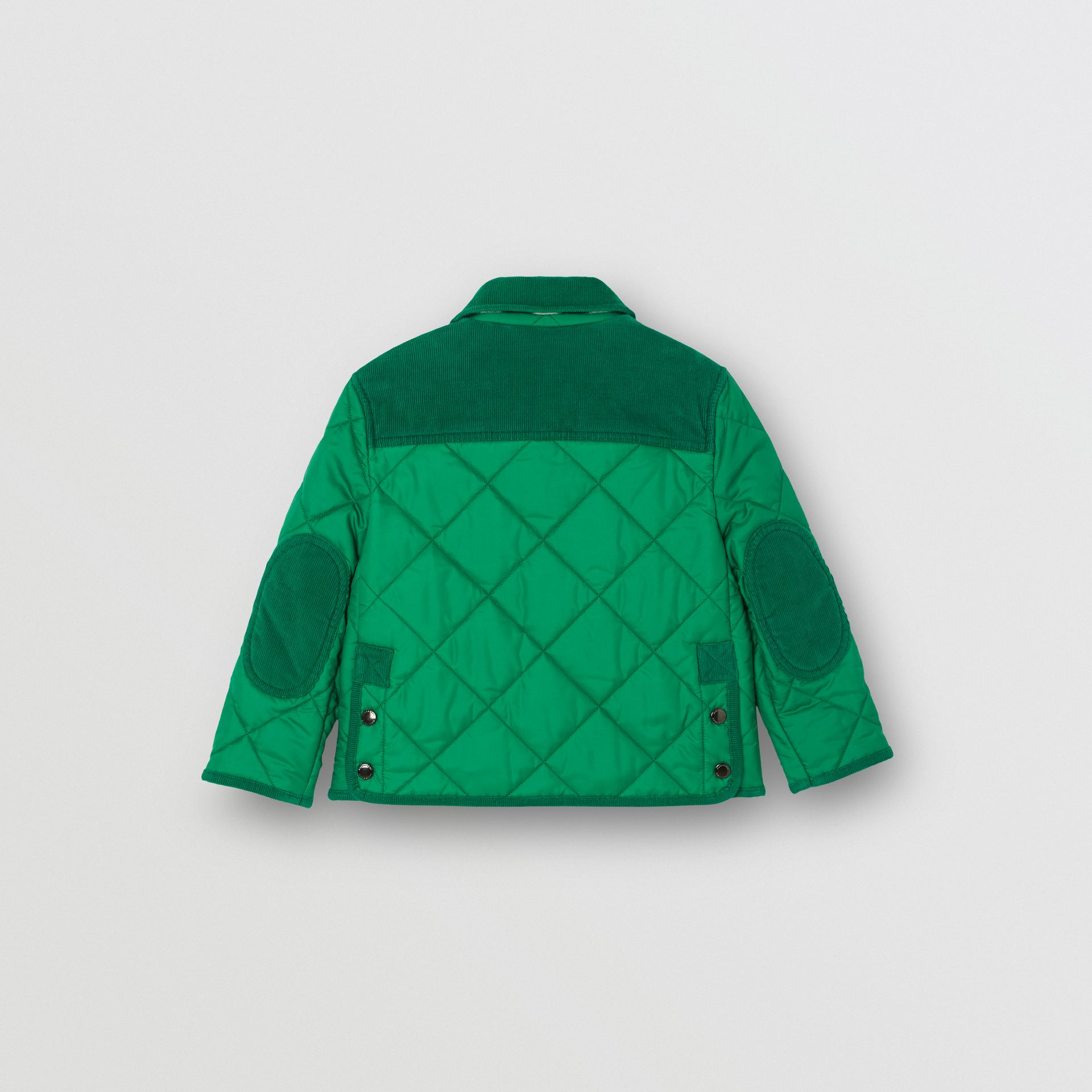 Corduroy Trim Diamond Quilted Jacket in Vibrant Green - Children | Burberry - gallery image 4