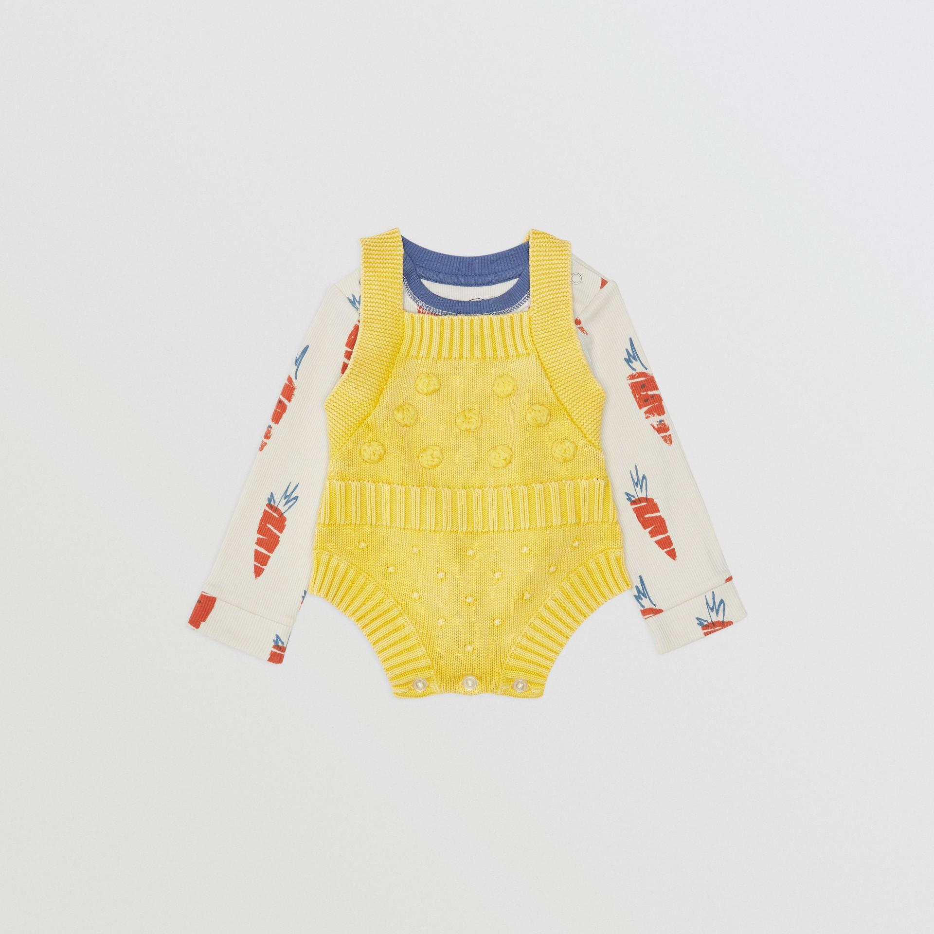 Pagliaccetto in cotone con texture a contrasto (Giallo Limone) - Bambini | Burberry - immagine della galleria 2