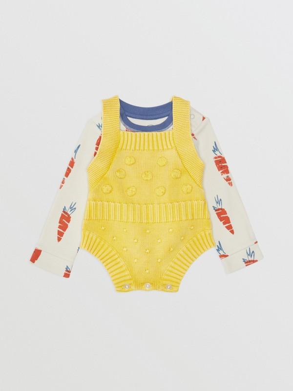 Pagliaccetto in cotone con texture a contrasto (Giallo Limone) - Bambini | Burberry - cell image 2