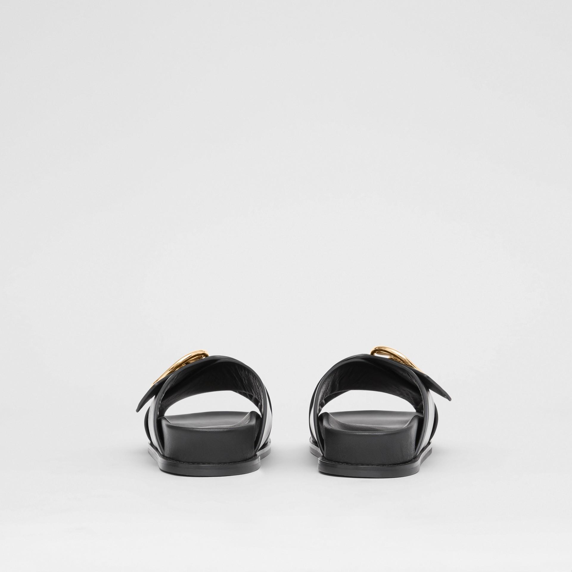 Monogram Motif Leather Slides in Black - Women | Burberry - gallery image 4