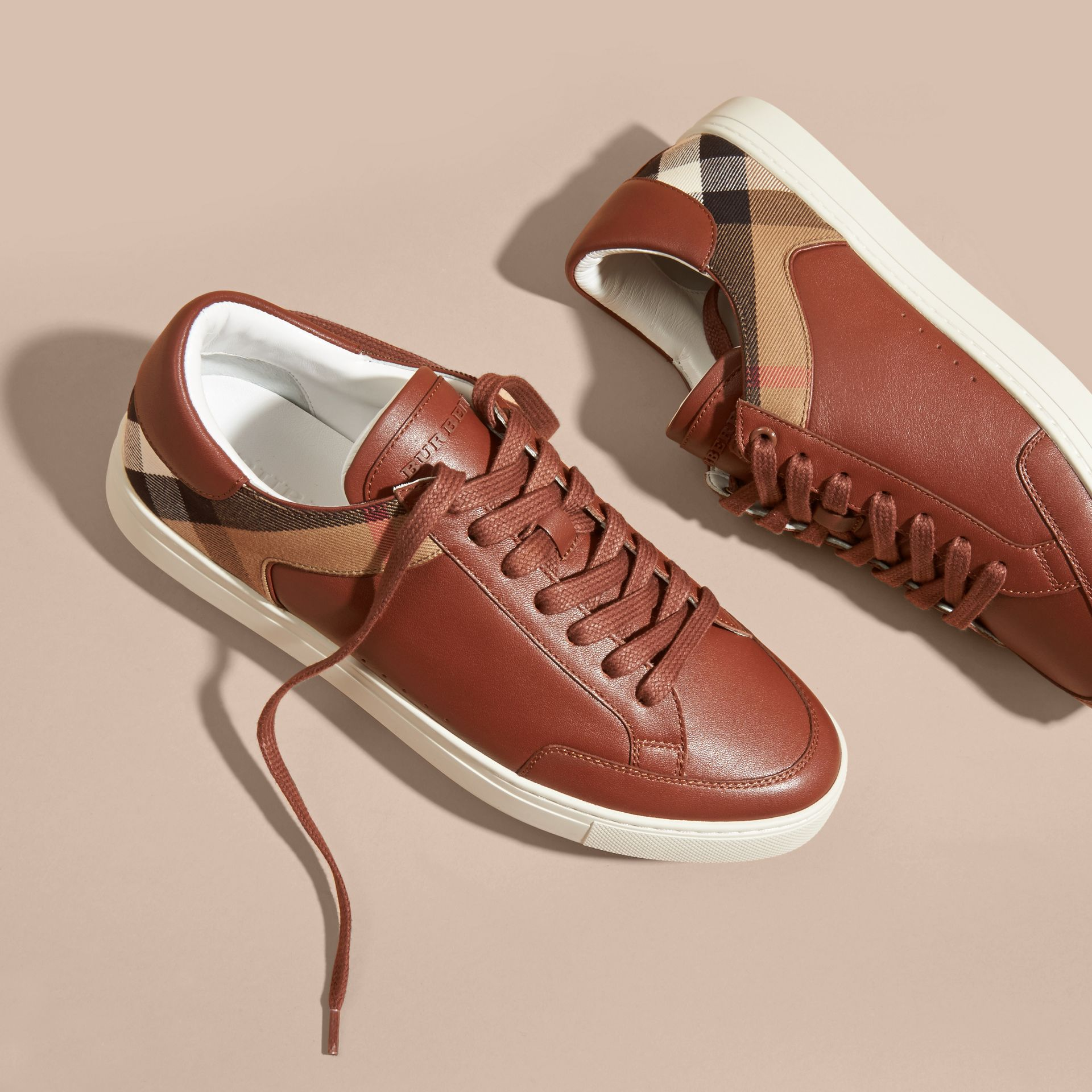 Leather and House Check Trainers in Check/bright Camel - gallery image 3