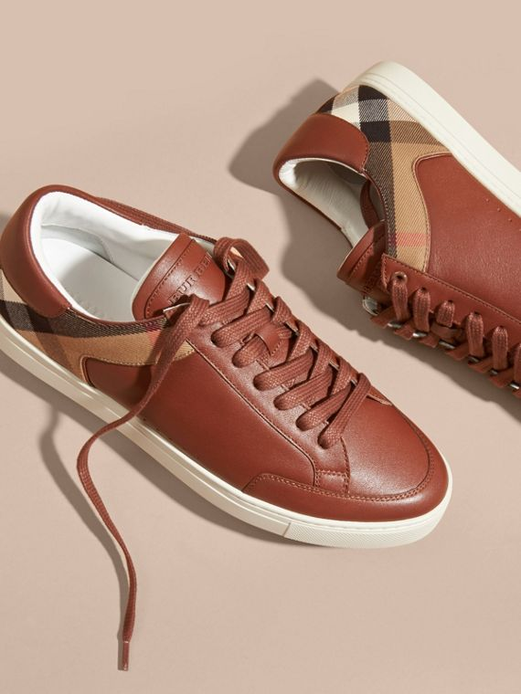 Leather and House Check Trainers in Check/bright Camel - cell image 2