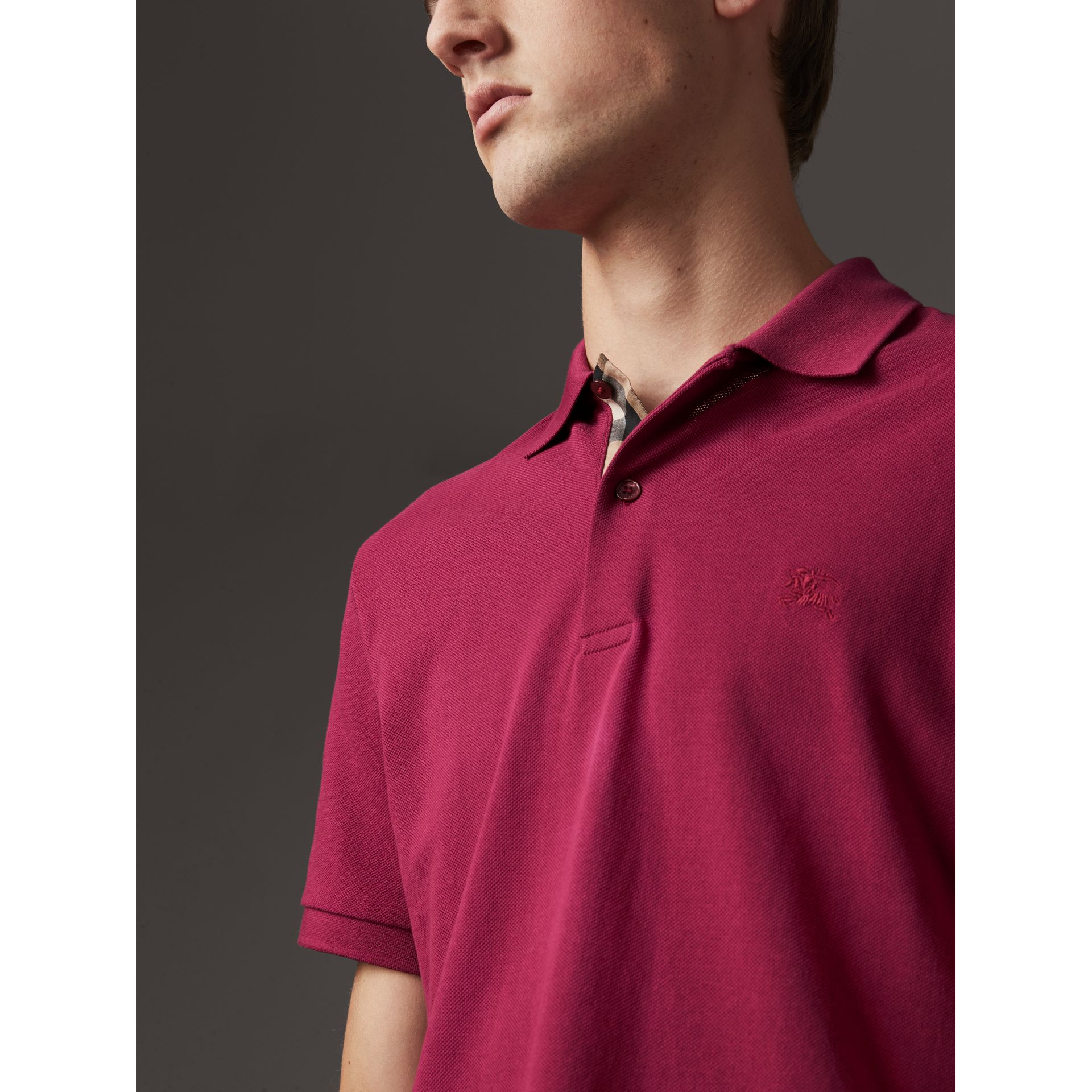 Check Placket Cotton Piqué Polo Shirt in Raspberry Sorbet - Men | Burberry Australia - gallery image 2