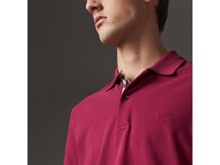 Check Placket Cotton Piqué Polo Shirt in Raspberry Sorbet - Men | Burberry Australia - cell image 1