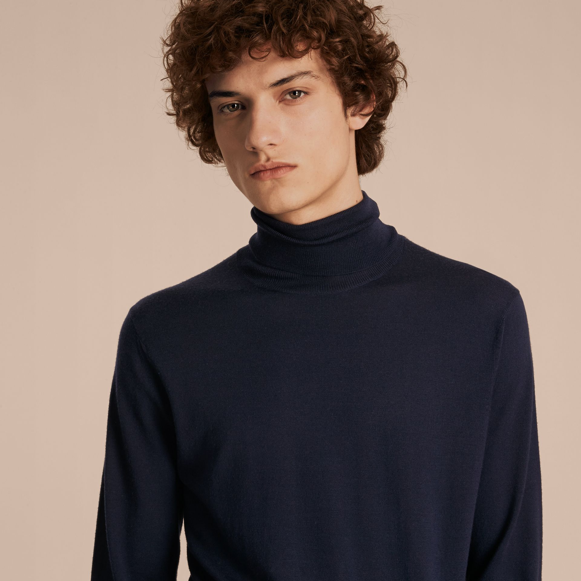 Navy Merino Wool Roll-neck Sweater Navy - gallery image 5