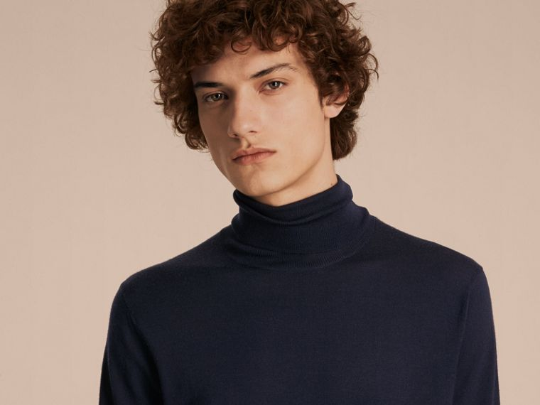 Merino Wool Roll-neck Sweater in Navy - Men | Burberry - cell image 4