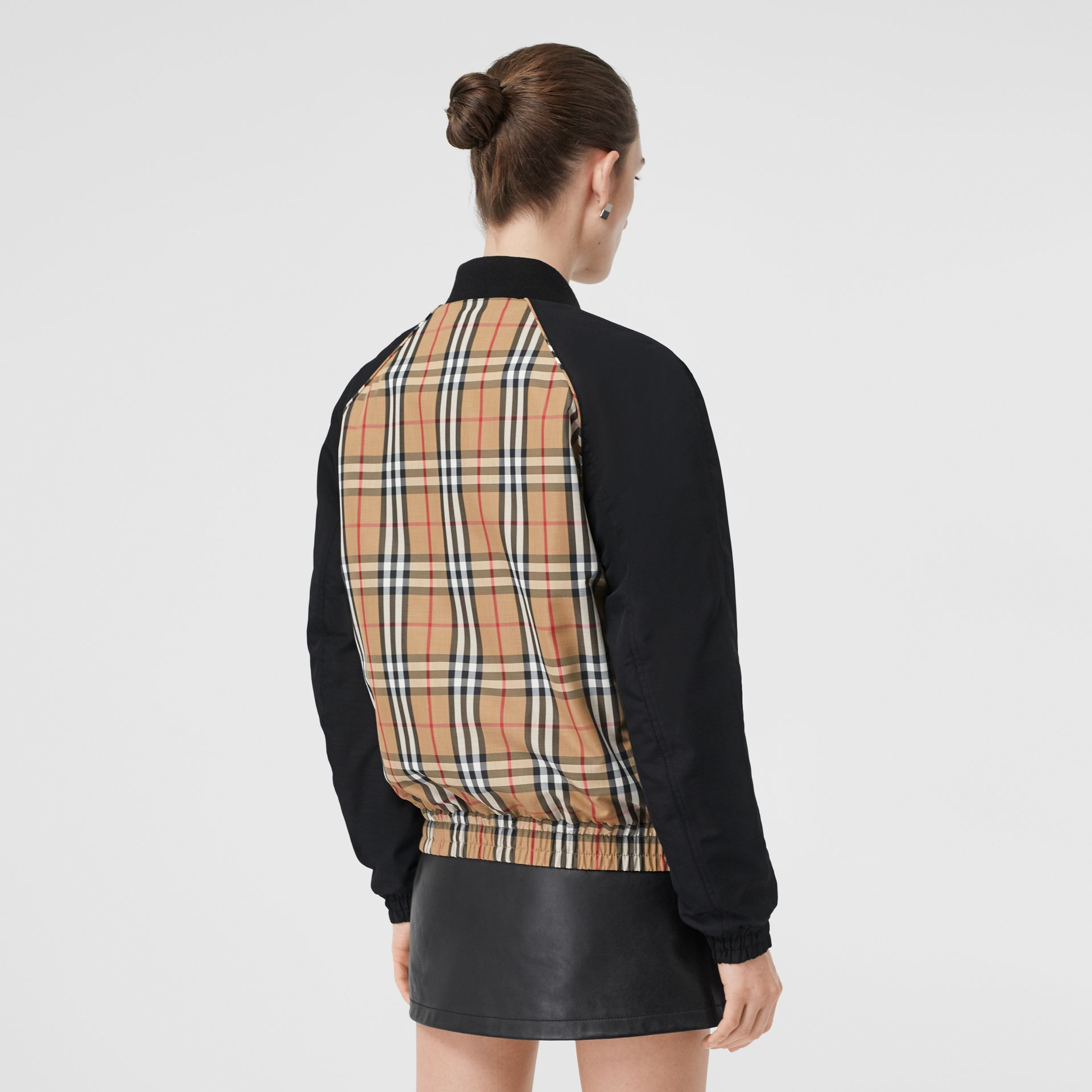 Monogram Motif Vintage Check Bomber Jacket in Black - Women | Burberry Australia - gallery image 2