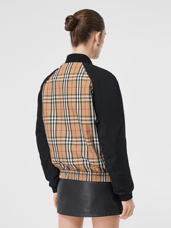 Monogram Motif Vintage Check Bomber Jacket in Black - Women | Burberry Australia - cell image 2