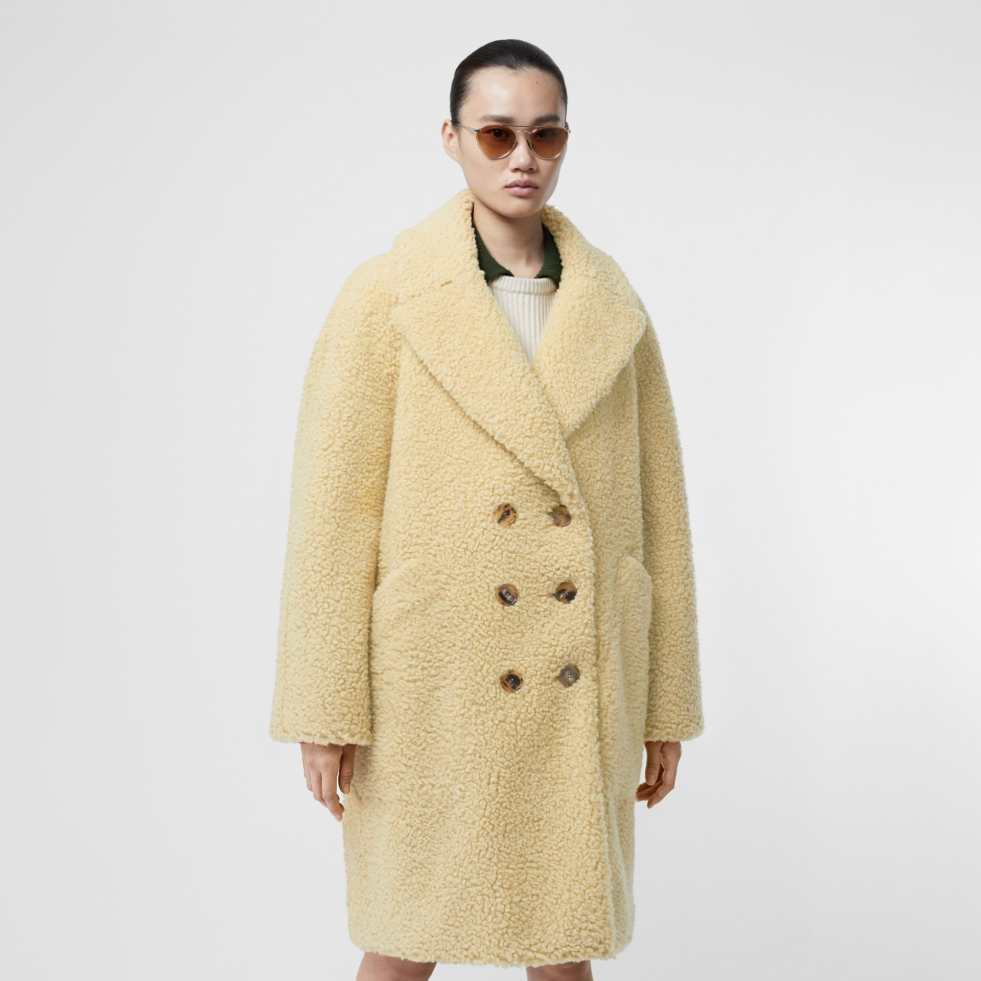 Faux Shearling Double-breasted Oversized Coat in Camomile - Women | Burberry - gallery image 5