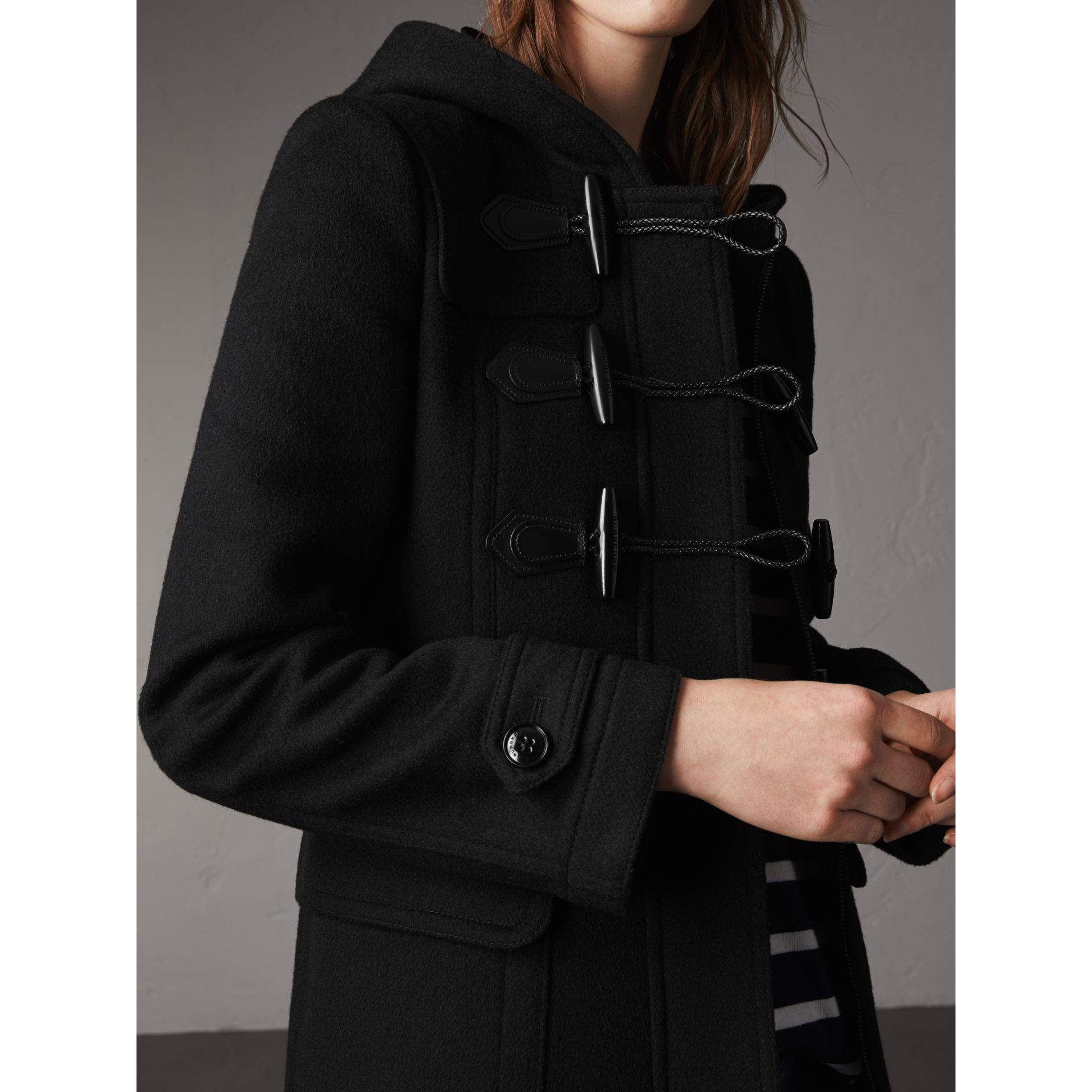 Fitted Wool Duffle Coat in Black - Women | Burberry Canada - gallery image 2