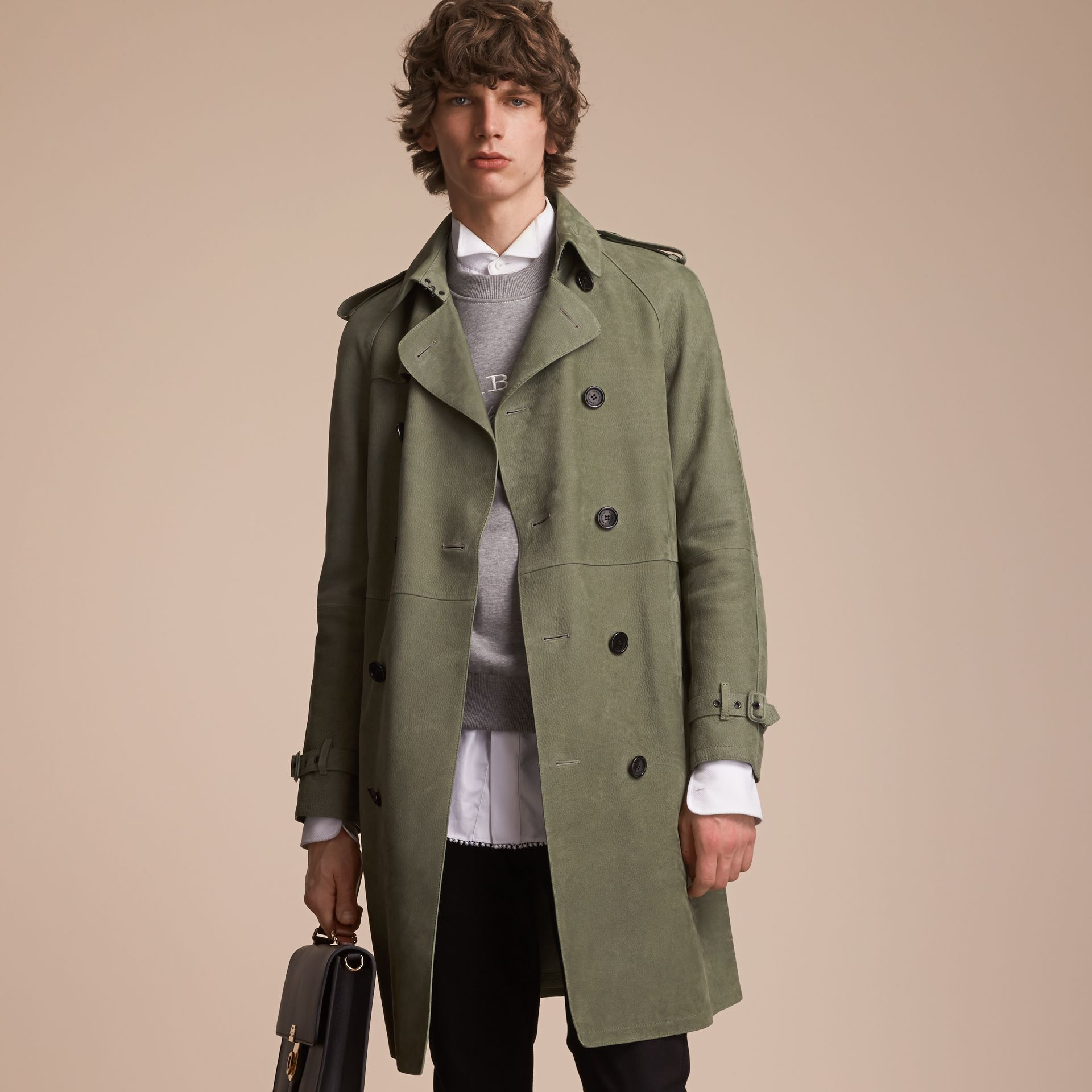 Lightweight Grainy Nubuck Trench Coat in Khaki Green - Men | Burberry - gallery image 7