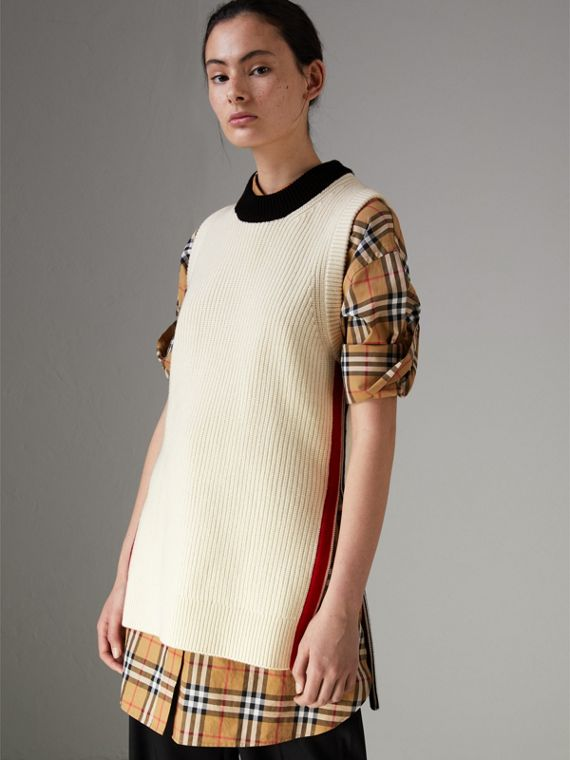 Rib Knit Wool Cashmere Vest in Natural White
