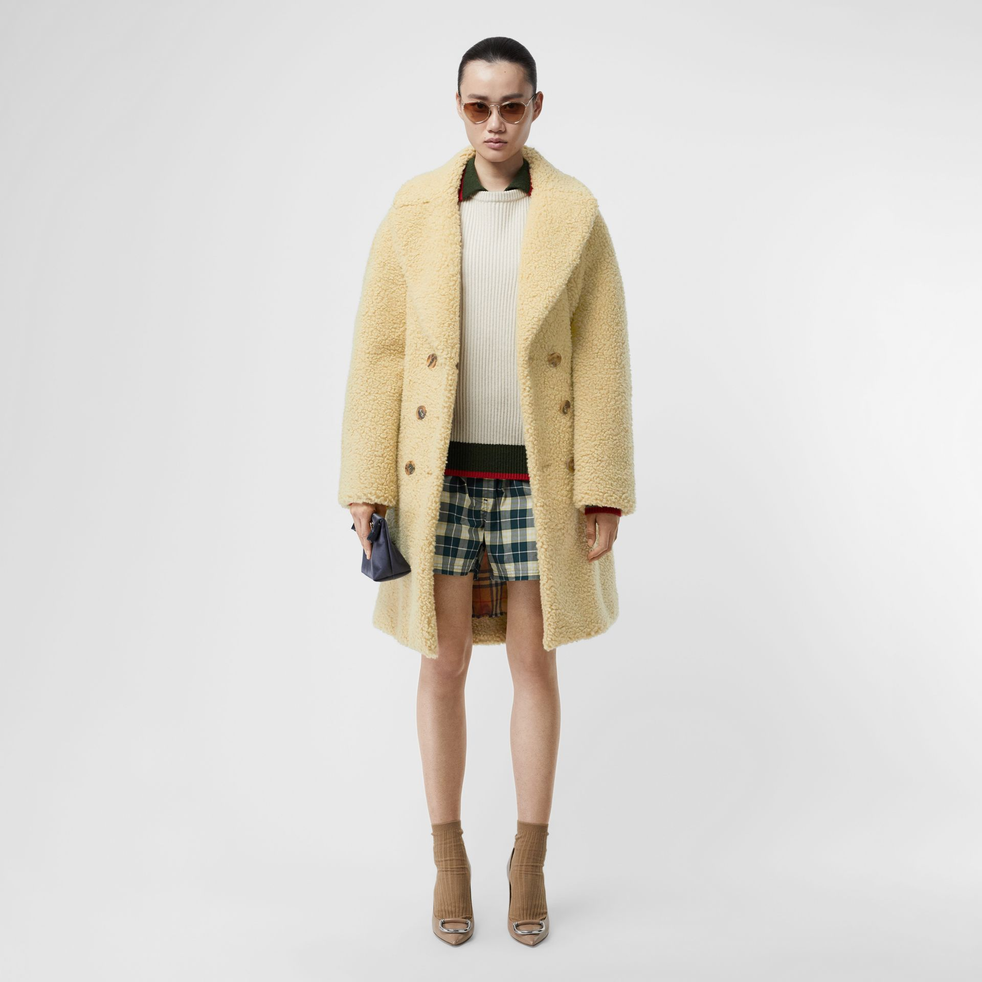 Faux Shearling Double-breasted Oversized Coat in Camomile - Women | Burberry - gallery image 0