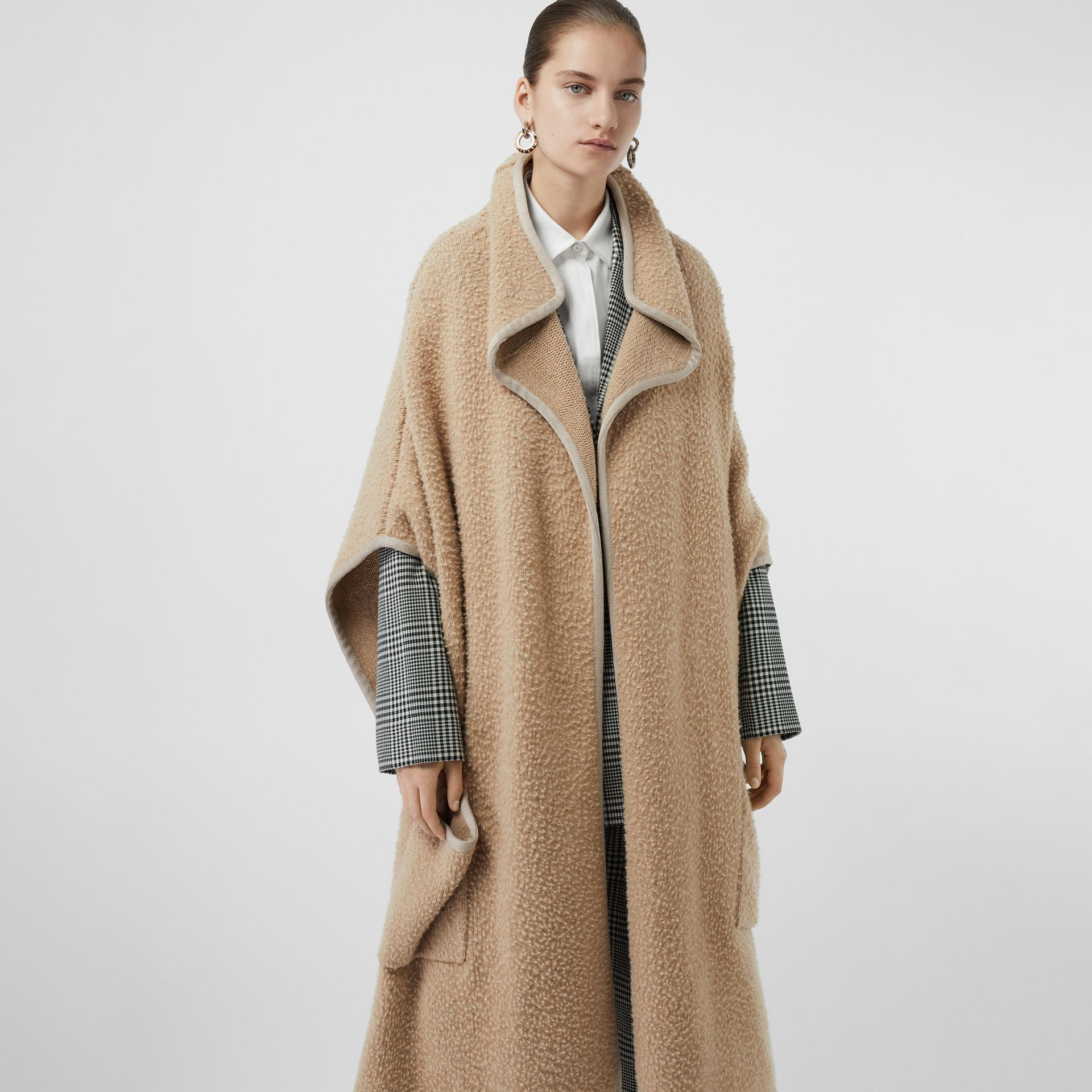 Wool Fleece Cape in Sand - Women | Burberry - gallery image 4